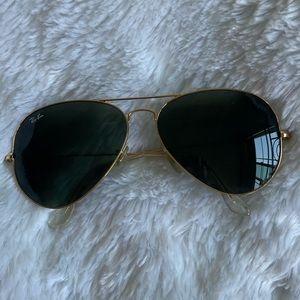 Ray-Ban Unisex Aviator Sunglasses- Gold/Dark Green